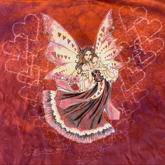 2004 Fantasy Heart Fairy Tie Dye Red Shirt